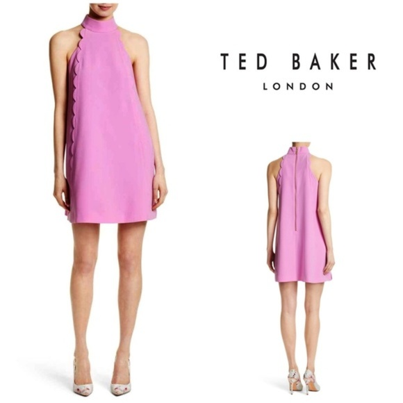 6f02eadbf Ted Baker torrii choker scallop shift dress pink. M 5ad8d5782ae12f055c760d5d